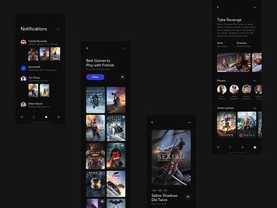 Gameshelf App - Concepts ios gaming library game app dark clean minimal web ux ui design