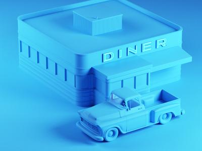 Diner cinema4d simple illustration 3d