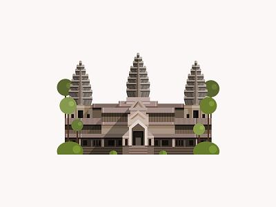 Angkor Wat vector cambodia temple logo hindu illustration icon flat design building architecture