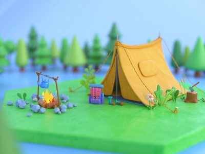 Hello Dribbble! debut first shot mountains hiking tent camping cute graphic design 3d modeling octane cinema4d 3d animation design illustration 3d art 3d