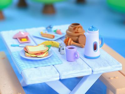 Snack time picnic octane breakfast camping game art render colorful visual art food cinema4d graphic design illustration cute 3d modeling 3d art 3d