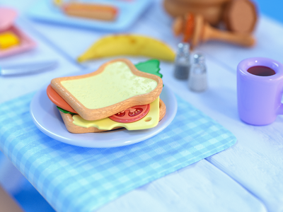 Snack time picnic octane breakfast camping game art render colorful visual art food cinema4d graphic design illustration cute 3d modeling 3d art 3d