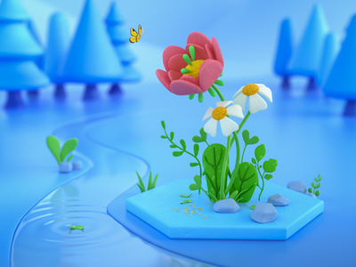 Plant Buds flower butteryfly forest render 3d illustration octane visual art green cute landscape plants colorful graphic design 3d design illustration cinema4d 3d art 3d