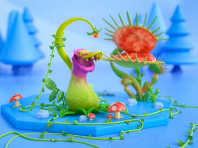 Carnivorous Plants leaves green plants colorful render visual art 3d modeling octane illustration graphic design cinema4d 3d art 3d