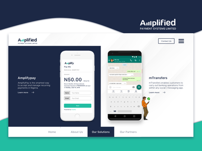 Amplified Solutions Page product payments banking social banking one page website fintech