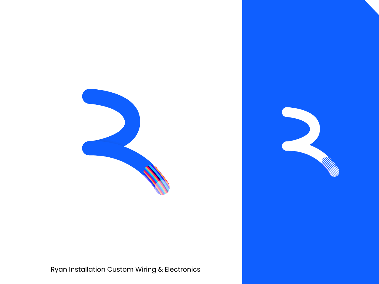 Ryan Installation r letter installation branding brand mark icon symbol mark minimal logo design clean