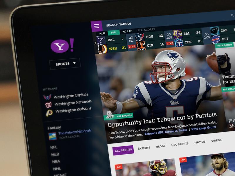 Yahoo! Sports Reloaded yahoo sports ui ux transparent web design football baseball hockey