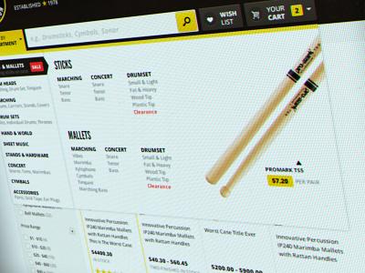 Main Navigation ecommerce navigation menu products black yellow nag ui shopping
