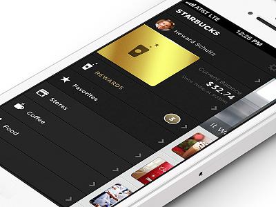 Starbucks Reloaded – Nav starbucks mobile ui ios apple iphone app menu navigation