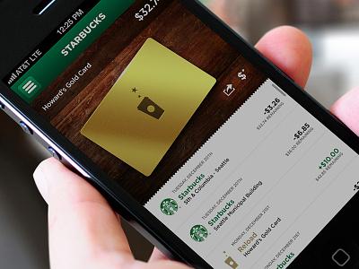 Starbucks Reloaded – Card starbucks app ui card green iphone ios receipt wood coffee