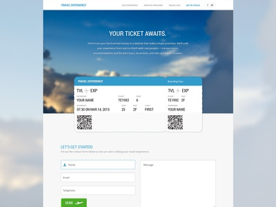 TTE – Contact Page travel experience clouds site blue vacation sky contact form ticket airplane