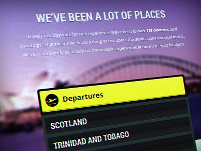TTE –Experience Page travel web site web design web departures destinations locations experience flight board