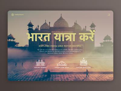 Landing page India Tours interface experience website tourism landing visual ui dailyui india
