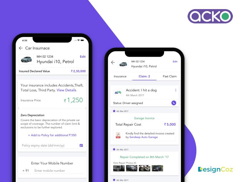 Designing The Ux Of Acko General Insurance Mobile App By Designcoz Ux Studio On Dribbble