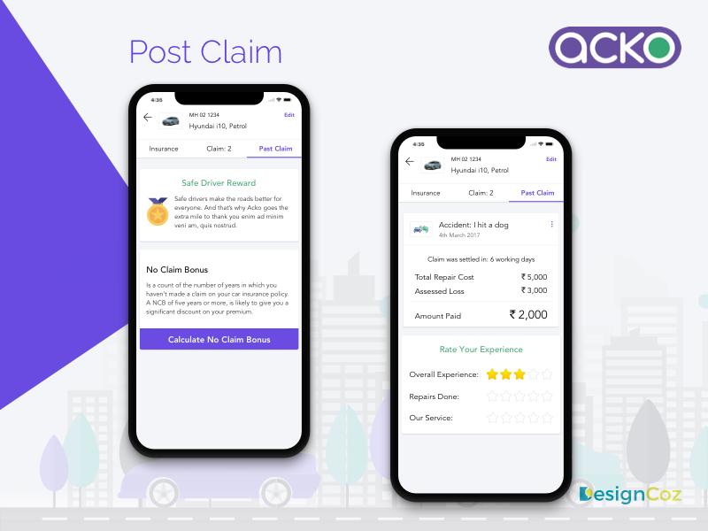 Acko General Insurance Mobile App by DesignCoz UX Studio on