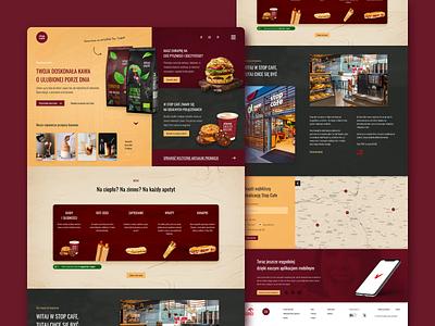 Stop Cafe Website Concept - Full website web design web design page flat ui ux uix home coffee cafe food burger recipes map menu header modern