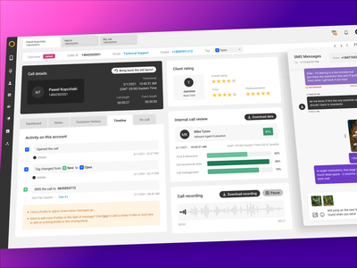 UX & UI User Panel Redesign call center saas audio player history timeline tabs stars review rating messages chat interface admin panle user flat ui ux