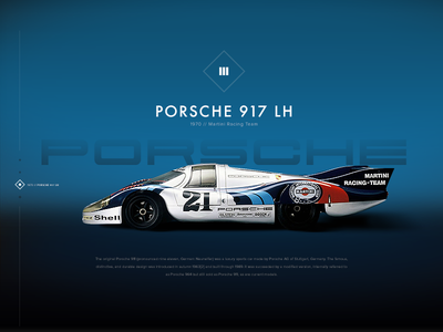 1970 Porsche917k UI website illustration ux ui