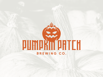 Pumpkin Patch Brewing Co. - 02 brewery branding brewery logo brewery pumpkin logo pumpkin jack-o-lantern halloween logo halloween