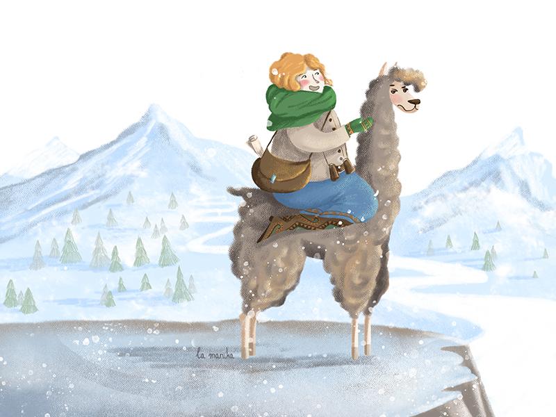 Let it snow fullbleed character design digital art illustration