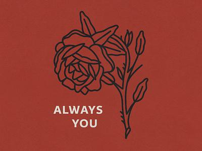 Always You rose valentinesday drawing type lockup vintage hand drawn vector texture minimal illustration design dribbbleweeklywarmup
