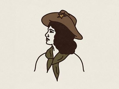 Cow Girl Blues portrait internationalwomensday cowgirl southwest western logo branding icon hand drawn illustration badge vintage vector texture minimal design