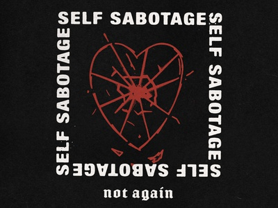 Self Sabotage heart logo blackletter sans serif sabotage halftone heart typography lockup type hand drawn illustration vintage vector texture minimal design