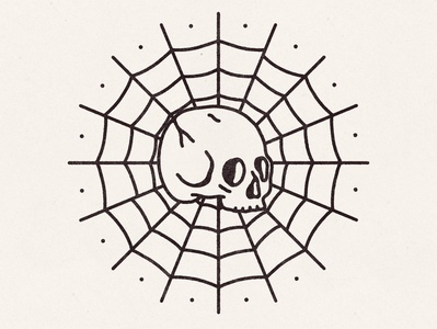 Survived By Nothing traditional tattoo tattoo flash tattoo skull illustration spider web skull skull art logo hand drawn badge illustration vintage vector texture minimal