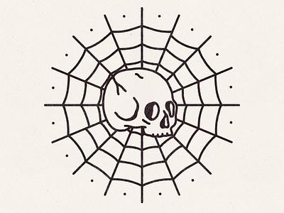 Survived By Nothing traditional tattoo tattoo flash tattoo skull illustration spider web skull skull art logo hand drawn badge illustration vintage vector texture minimal