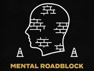 Mental Block Ahead caution head skateboarding distressed grunge mental health typography lockup type branding logo badge hand drawn illustration design vintage vector texture