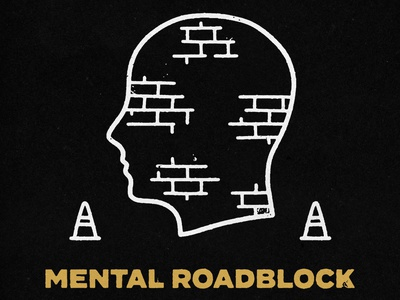 Mental Block Ahead caution head skateboarding distressed grunge mental health typography lockup type branding logo badge hand drawn illustration design vintage vector texture