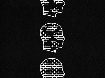 Mental Block - Full logo icon minimal hand drawn illustration design vintage vector texture outlines head