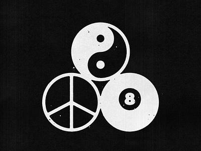 Triple Balance grunge logo badge minimal illustration design vintage vector texture icon balance peace 8 ball yang ying yingyang
