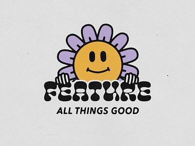 All Things Good positivity flower illustration streetwear apparel design typography type logo badge minimal hand drawn illustration design vintage vector texture