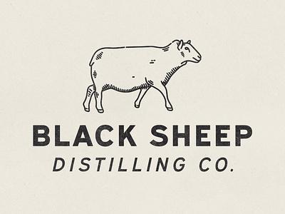 Black Sheep Logo distillery sheep hand drawn typography type lockup vintage vector texture minimal logo illustration icon design branding badge