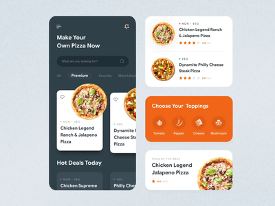 Food Application Animation illustration ios appdesign interface texture sketch principle iphone motion graphic uiux ux ui design interaction motion app pizza food animation aftereffects