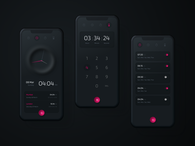 Smart Alarm Clock black mobile product smart app neumorphism neomorphism dark ui dark theme dark clock uidesign design ui sktech iphone ios interface alarm appdesign app
