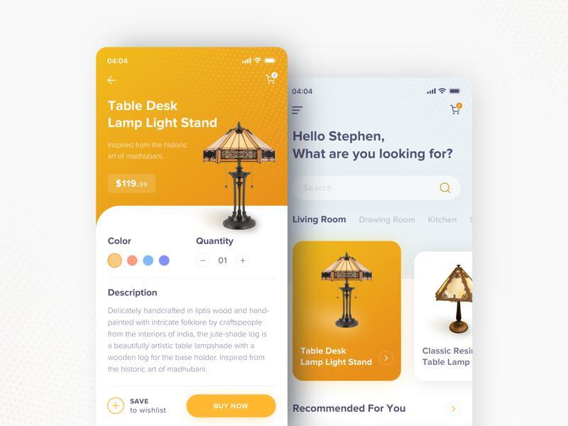 Home Decor App user interface ux ui phone mobile light interface decor design apps app design app