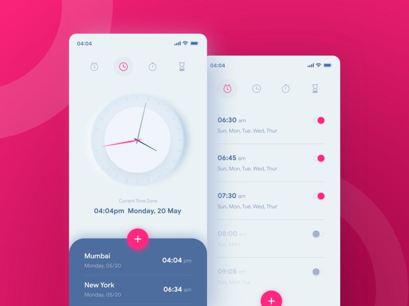 Alarm Clock Application ios mobile uiux ui iphone layout interface alarm light design app design app