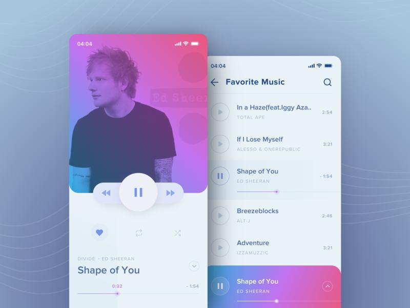 Music Player Application music player musician ui player app design mobile uiux iphone ios interface music light app