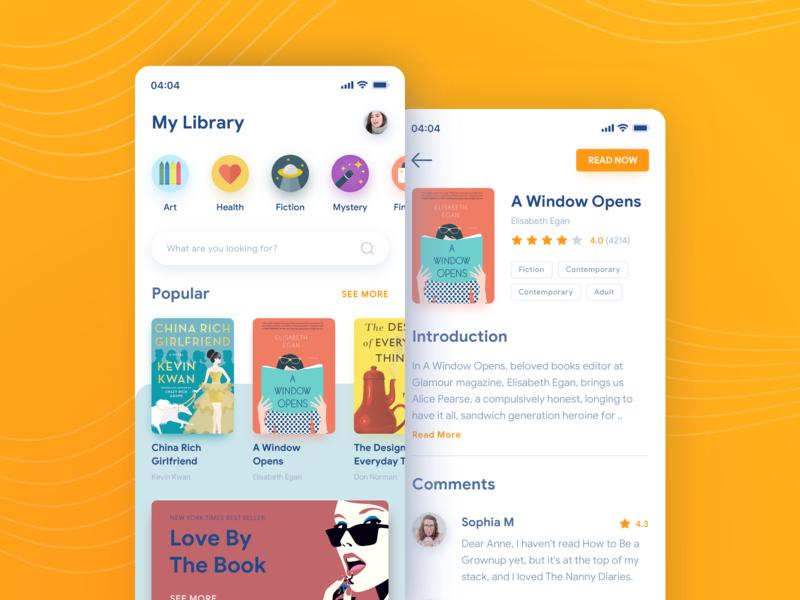 Reading Application bookworm ux ui mobile light layout iphone ios interface design app design reading app book