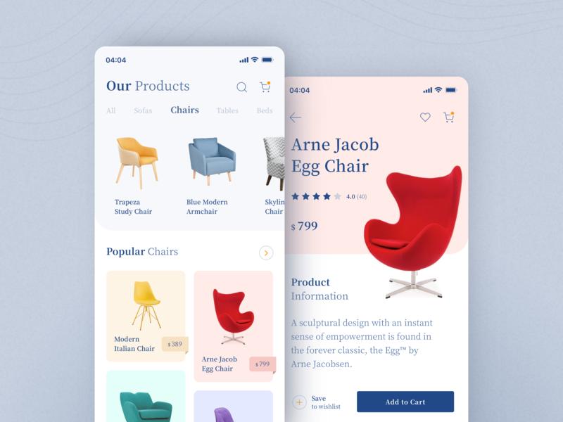 Furniture Shopping Application uiux ui ecomerce furniture mobile light layout iphone ios interface app design application app