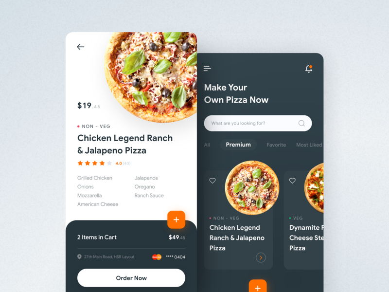 Pizza Ordering Application ordering uiux ui pizza mobile dark light layout iphone ios interface app design application app
