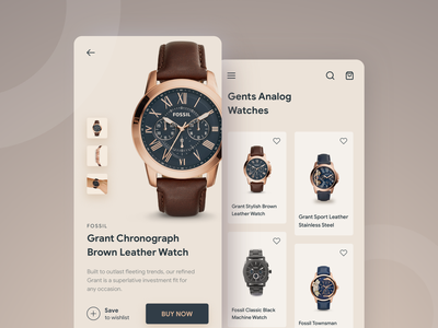 Watch Shopping watch fossil uiux application ui luxury gold layout iphone ios interface app design application app