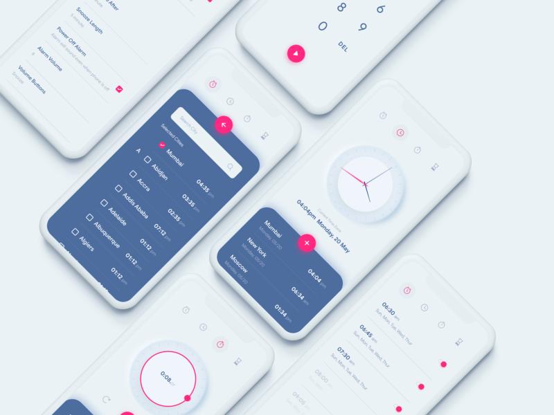 Clock / Alarm Application skeuomorph uiux ui mobile clay layout iphone app design icon ui web ios guide interface app design app alarm
