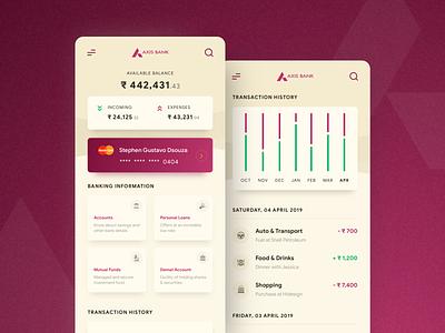 Axis Bank Application Concept bank interface app design icon ui web ios guide banking app finance banking axis mobile iphone app design app