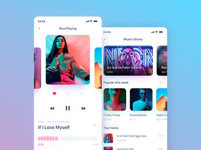 Music App Design neon app design ui design interface design music player iphone mobile uidesign sketch app uiux ui music
