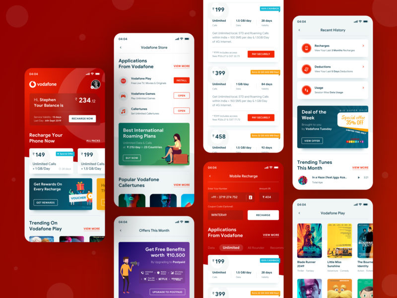 Vodafone Concept Design ios uiux iphone app design mobile app interface ui illustration design