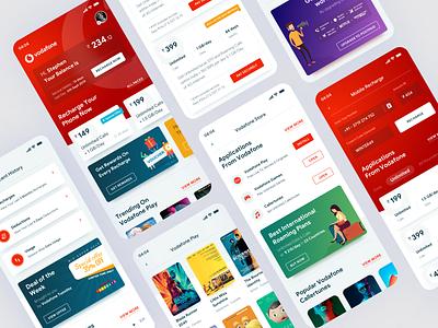 Vodafone Concept Design. app design applications mobile design ui mobile ui ux application mobile iphone ios red interface illustration app