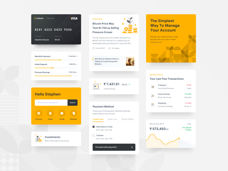 Finance App Cards flat design clean branding yellow ux ui sketch patterns mobile minimal iphone interface finance cards black appdesign app